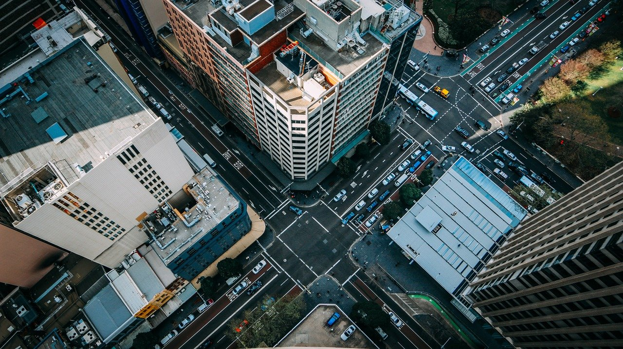 junction, city, aerial view